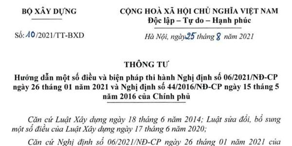 Thông tư 10/2021/TT-BXD hướng dẫn Nghị định 06/2021/NĐ-CP